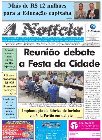 Capa A Notícia - Edição 4249 - 17/01/19