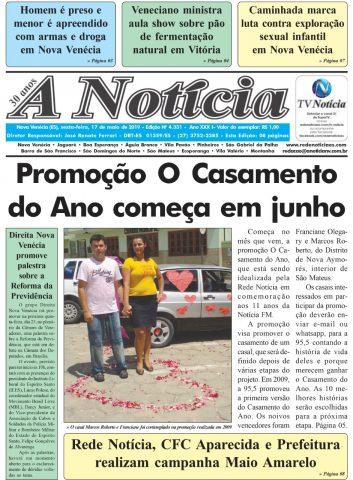 Capa A Notícia - Edição 4331 - 17/05/19